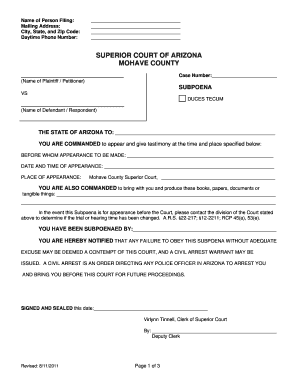 Fillable Online mohavecourts az Name of Person Filing