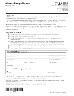 Calstrs Forms Address Change Form - Fill Online, Printable ...