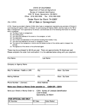 state of california bill of sale or consignment form