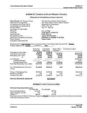 Exhibit 5-C SAMPLE OF STATE PROJECT INVOICE - dot ca