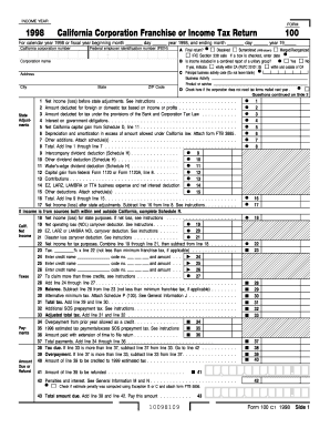 Fillable Online ftb ca 1998 Form 100 - California Corporation ...