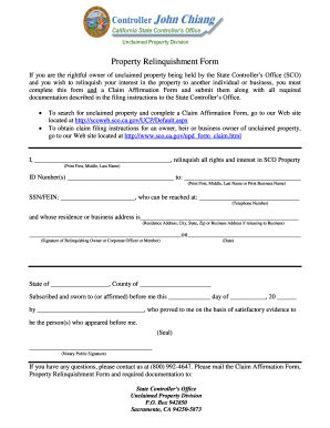 State Of California Unclaimed Property Claim Affirmation Form