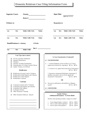 Domestic Relations Case Filing Information Form - Fill Online ...