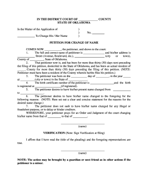 Fillable Online Form Petition For Name Change Fax Email Print Pdffiller