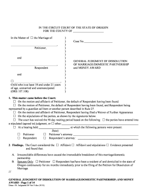 Form General Judgment Of Dissolution Of Marriage/Domestic Partnership; And Money Award (1B)