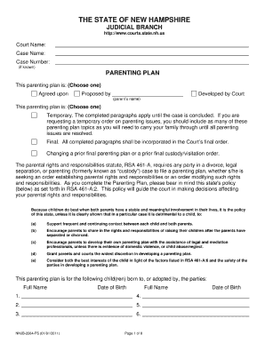 Bill Of Sale Form New Hampshire Parenting Plan Form Templates ...