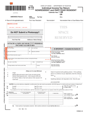 Hawaii N 15 Income Tax Return For 2009 - Fill Online, Printable ...