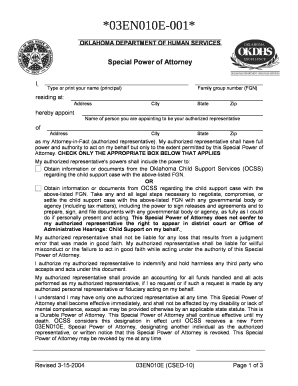 special power of attorney for authorized representative form