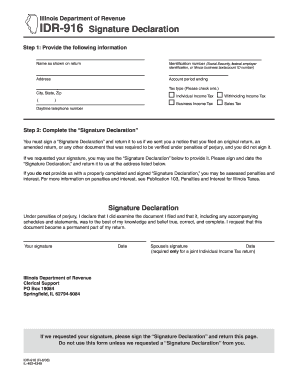 Illinois Form Idr 916 - Fill Online, Printable, Fillable, Blank ...
