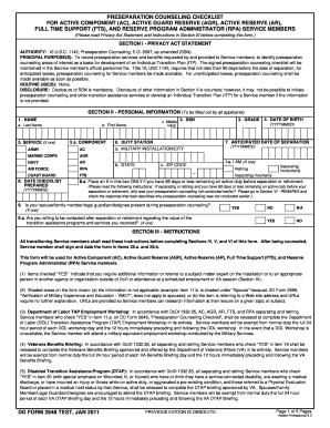 Dd form 2648 test jan 2011 fill online printable fillable blank
