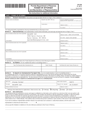 florida department of revenue power of attorney and declaration of representative form