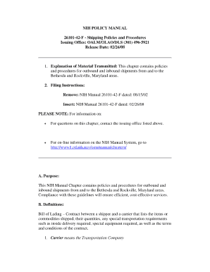 nih policies and procedure for inbound form