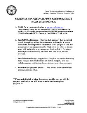 Passport Renewal Fees - Fill Online, Printable, Fillable