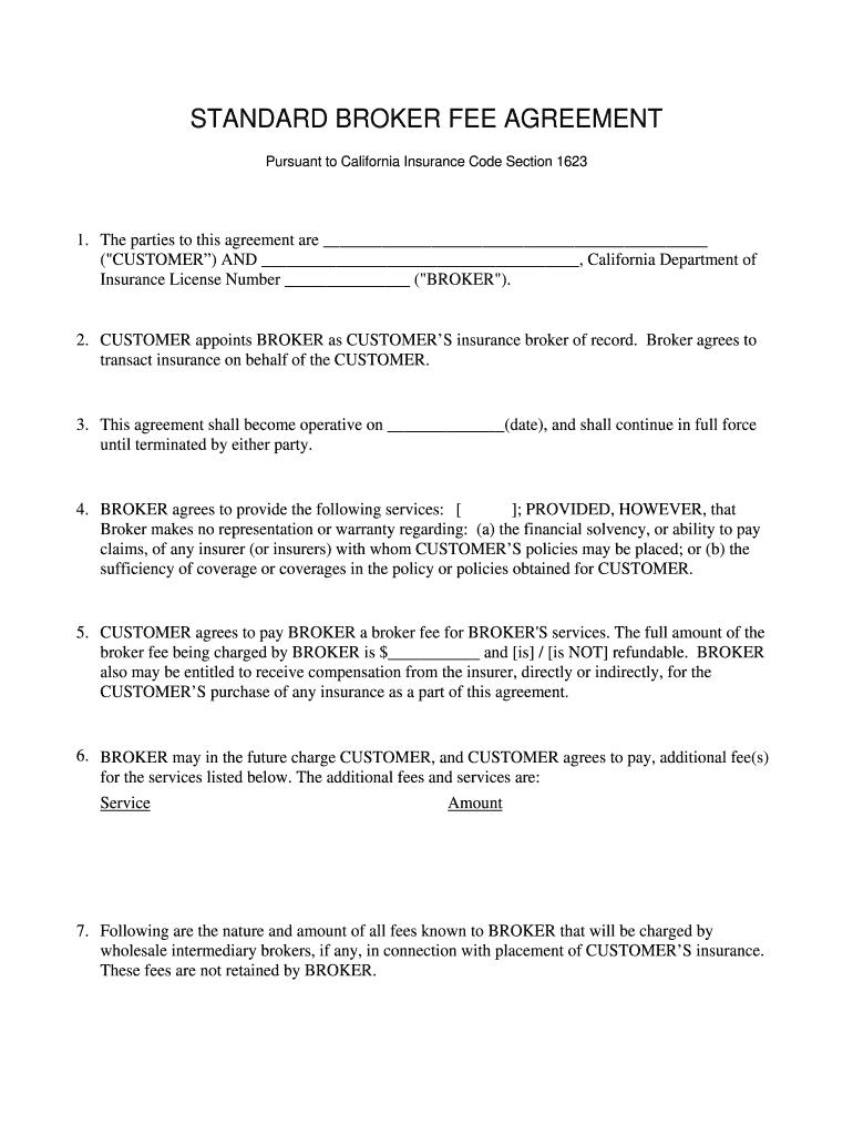 Broker Fee Agreement Form Fill Online Printable Fillable