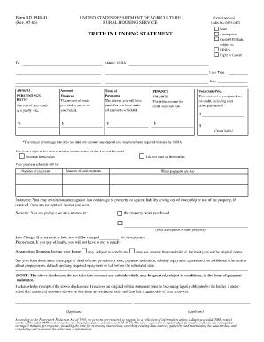 Usda Assumption Truth In Lending - Fill Online, Printable ...