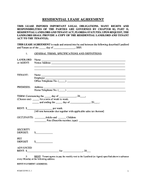 florida rental agreement rental agreement pdf Forms and Templates - Fillable