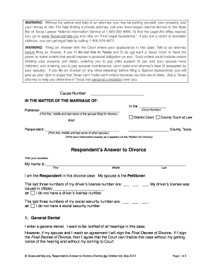 answer texas divorce form