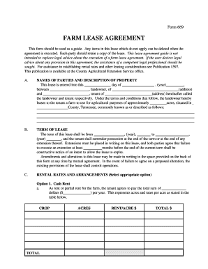 Farm Lease Fill Online Printable Fillable Blank