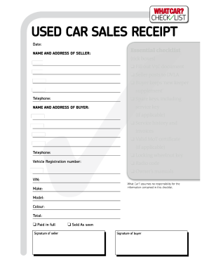 Used Car Receipt Forms and Templates - Fillable & Printable ...