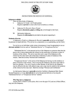 New York Suboena Ad Testificandum Requirements - Fill Online ...