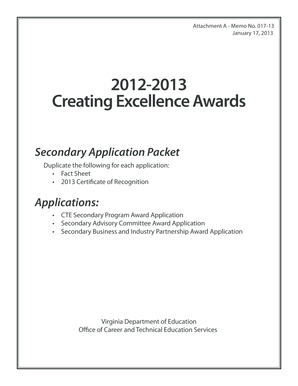 creating excellence awards form