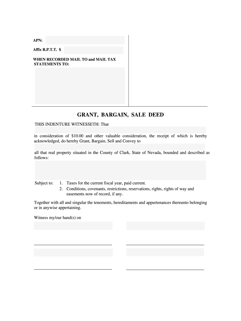 Grant Bargain Sale Deed - Fill Online, Printable, Fillable, Blank