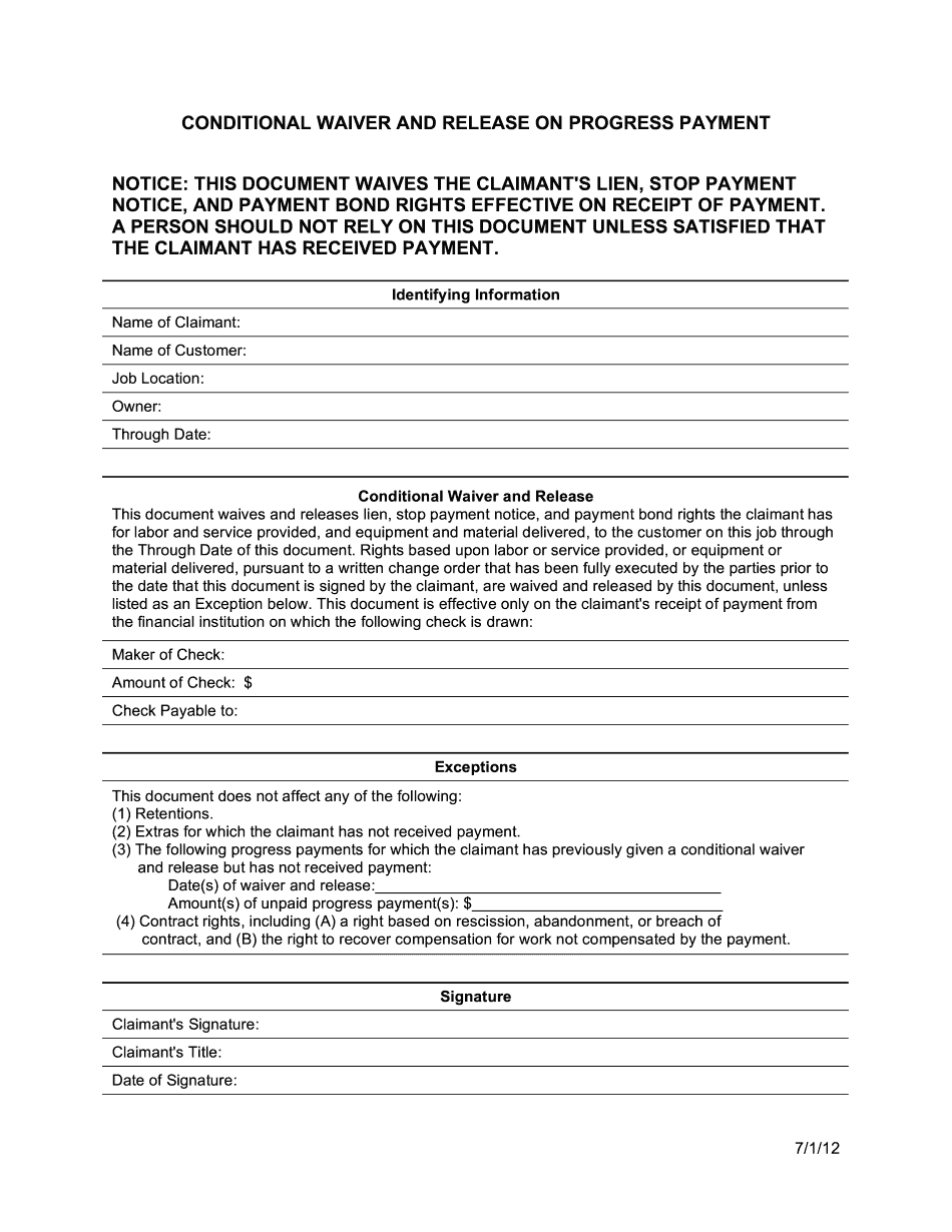 CA Conditional Waiver and Release on Progress Payment 2021 Form