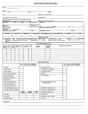 24 Printable Prenatal Chart Forms and Templates - Fillable