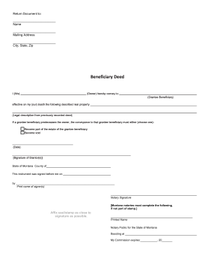 Montana Beneficiary Deed Form - Fill Online, Printable, Fillable ...