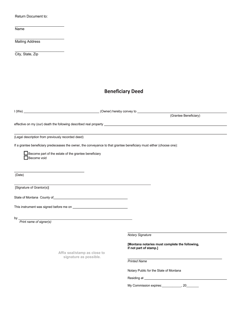 photograph relating to Free Printable Beneficiary Deed named Beneficiary Montana - Fill On the web, Printable, Fillable