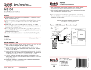 Features: Parts List: MS100 Installation Guide - Digitrax, Inc.