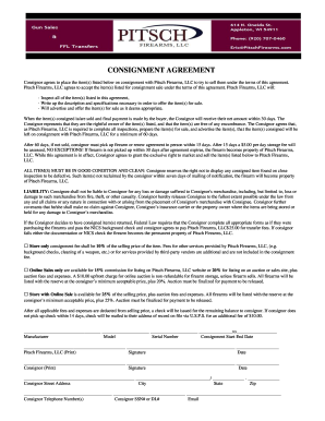 Gun Consignment Form  Consignment Contracts Template