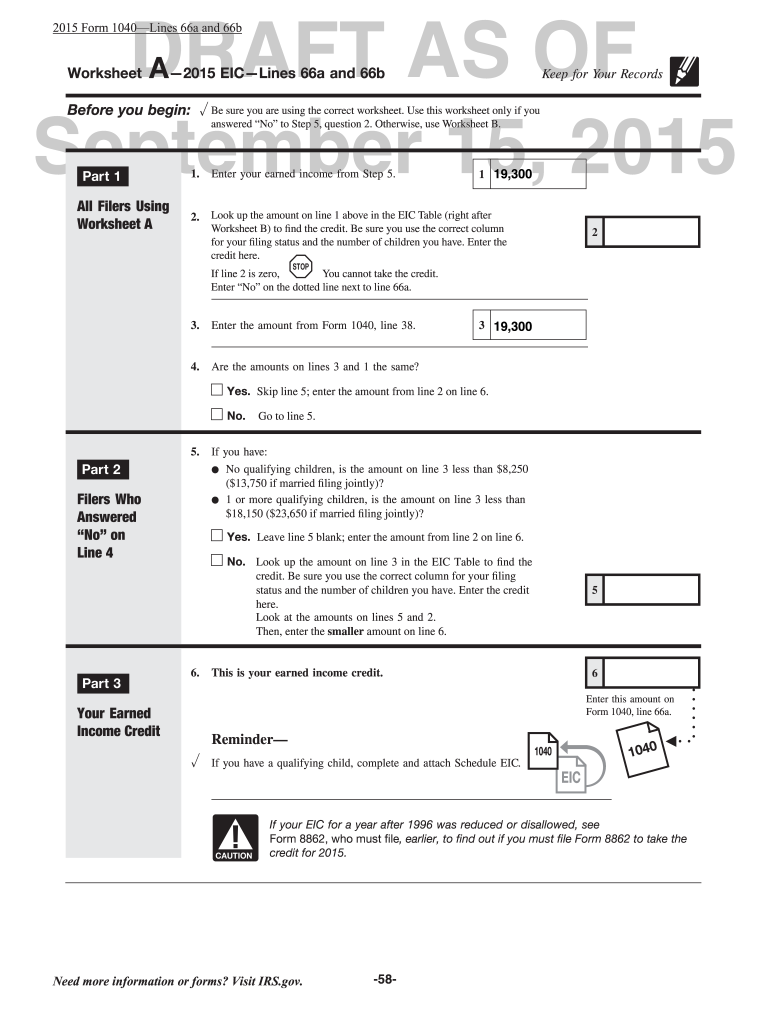 Eic Worksheet Fill Online Printable Fillable Blank Pdffiller