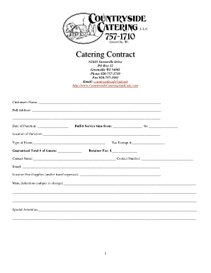 Catering contract template forms and templates fillable for Catering contracts templates