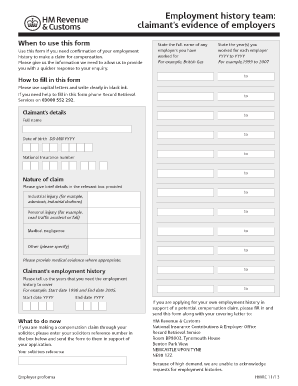 Can Hmrc Fax My Employment History Form  Proof Of Employment Form