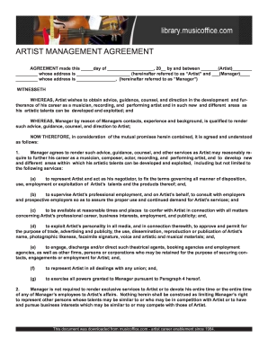 Artist Management Contract 2020 Pdf Fill Online Printable Fillable Blank Pdffiller