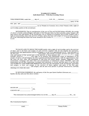 Warranty Deed Survivorship - Fill Online, Printable, Fillable ...