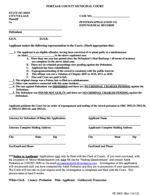 Portage County Expungement Application - Fill Online, Printable ...