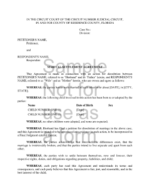 26 Printable Sample Marital Settlement Agreement Provisions Forms