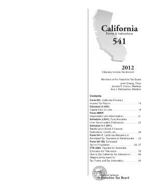 California 541 2015 Instructions - Fill Online, Printable ...