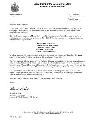 Maine Title Application Mvt 30 Fill Online Printable
