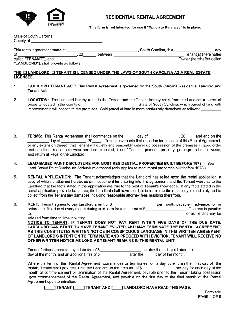 Editable South Carolina Lease Agreement Fill Online