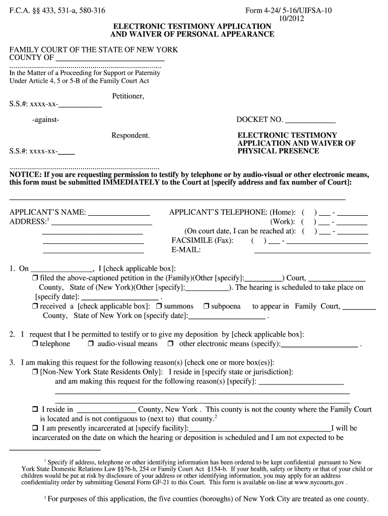 Electronic Testimony Application And Waiver Of Physical