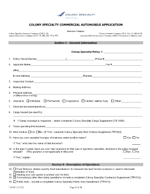 Colony Specialty Commercial Automobile Application - Fill ...