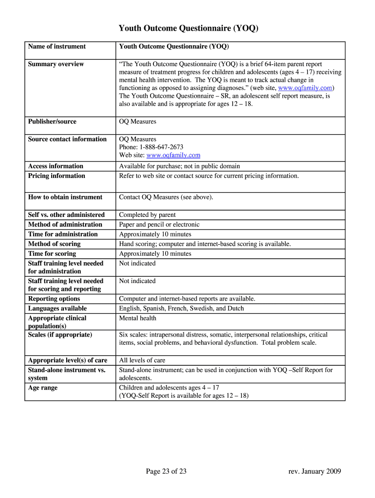 Youth Outcome Questionnaire Pdf - Fill Online, Printable
