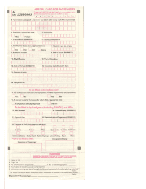 Indian Immigration Arrival Form Pdf - Fill Online, Printable ...