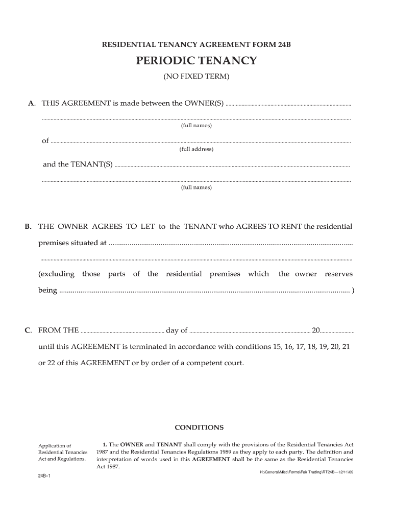 Periodic Tenancy Agreement Template Fill Online Printable
