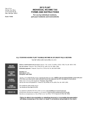 City Of Flint Fillable Tax Forms - Fill Online, Printable ...