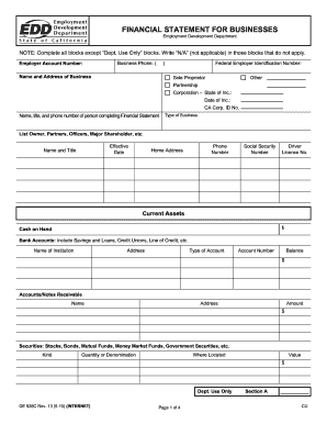 Edd De 1446 Form. Personal Financial Statement ...