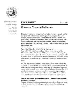 Fillable Online courts ca Change of Venue in California: Fact ...